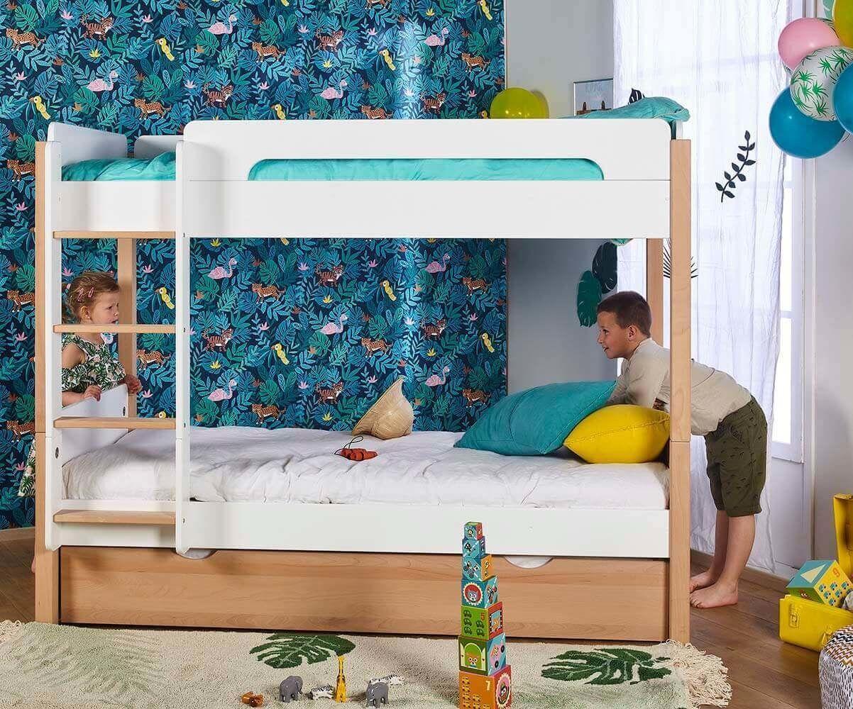 Ma Chambre d'Enfant Lit Enfant Superposé avec Matelas Sweet  Blanc et bois 90x190 cm