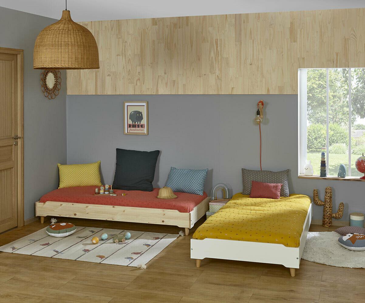 Ma Chambre d'Enfant Lit enfant avec pieds et matelas Happy  Blanc 90x190 cm