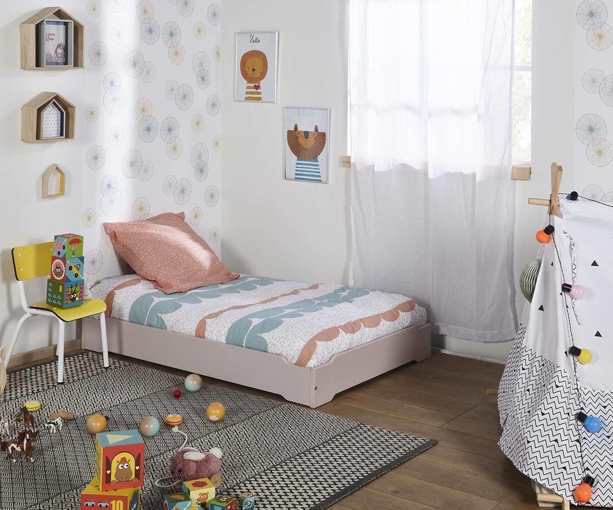 Ma Chambre d'Enfant Lit enfant évolutif empilable avec sommier Happy  Vieux rose 90x140 à 90x190 cm
