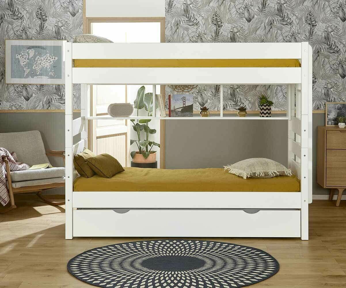 Ma Chambre d'Enfant Lit superposé ado avec sommier gigogne Kids  Blanc 90x200 cm