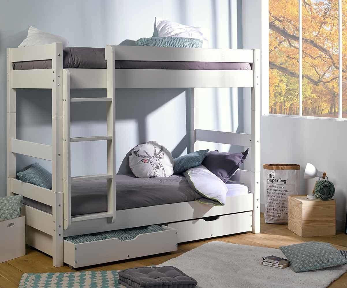 Ma Chambre d'Enfant Lit superposé adulte Wood  Blanc 80x190 cm