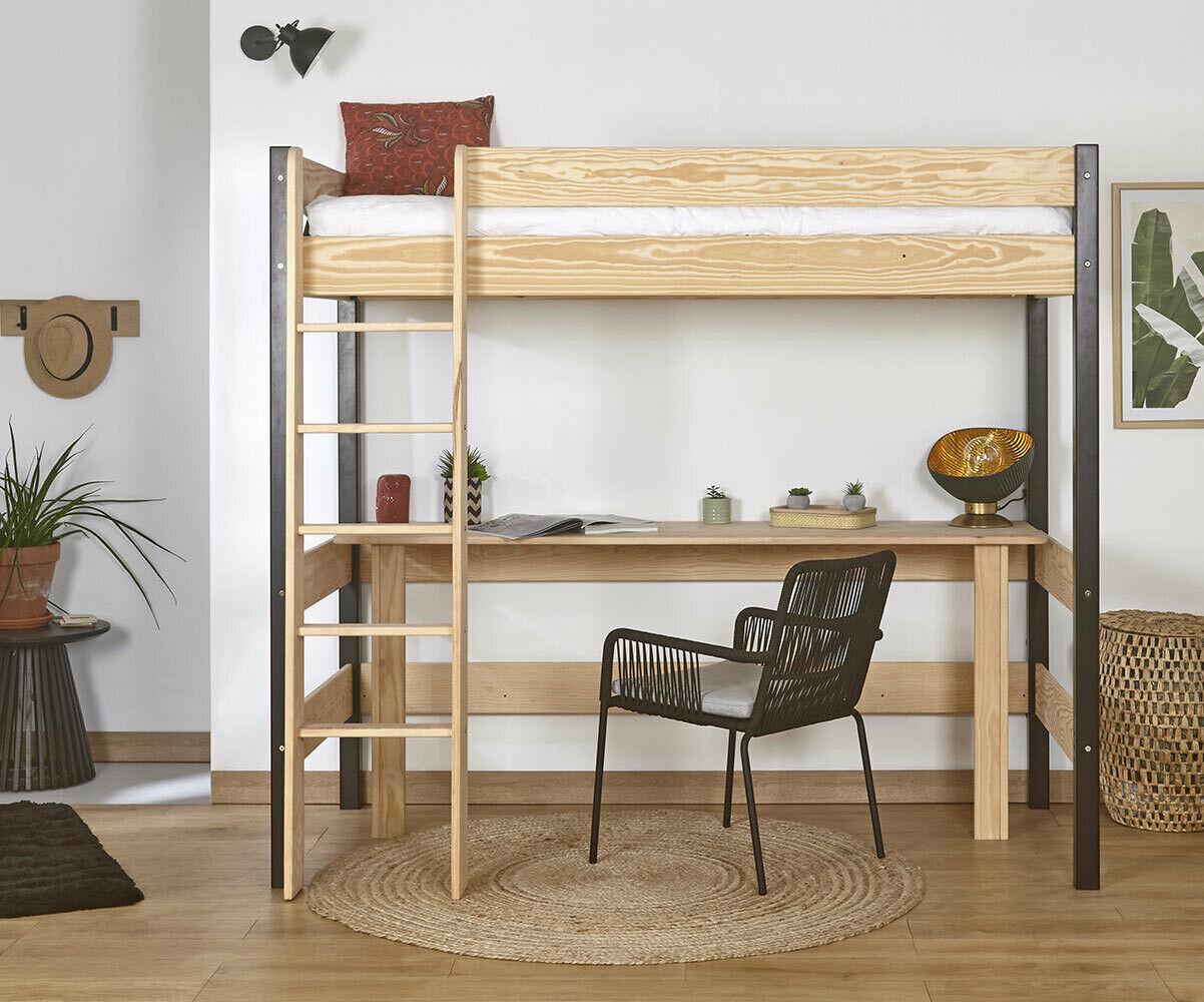 Ma Chambre d'Enfant Lit mezzanine ado avec bureau Clay  Blanc 90x190 cm