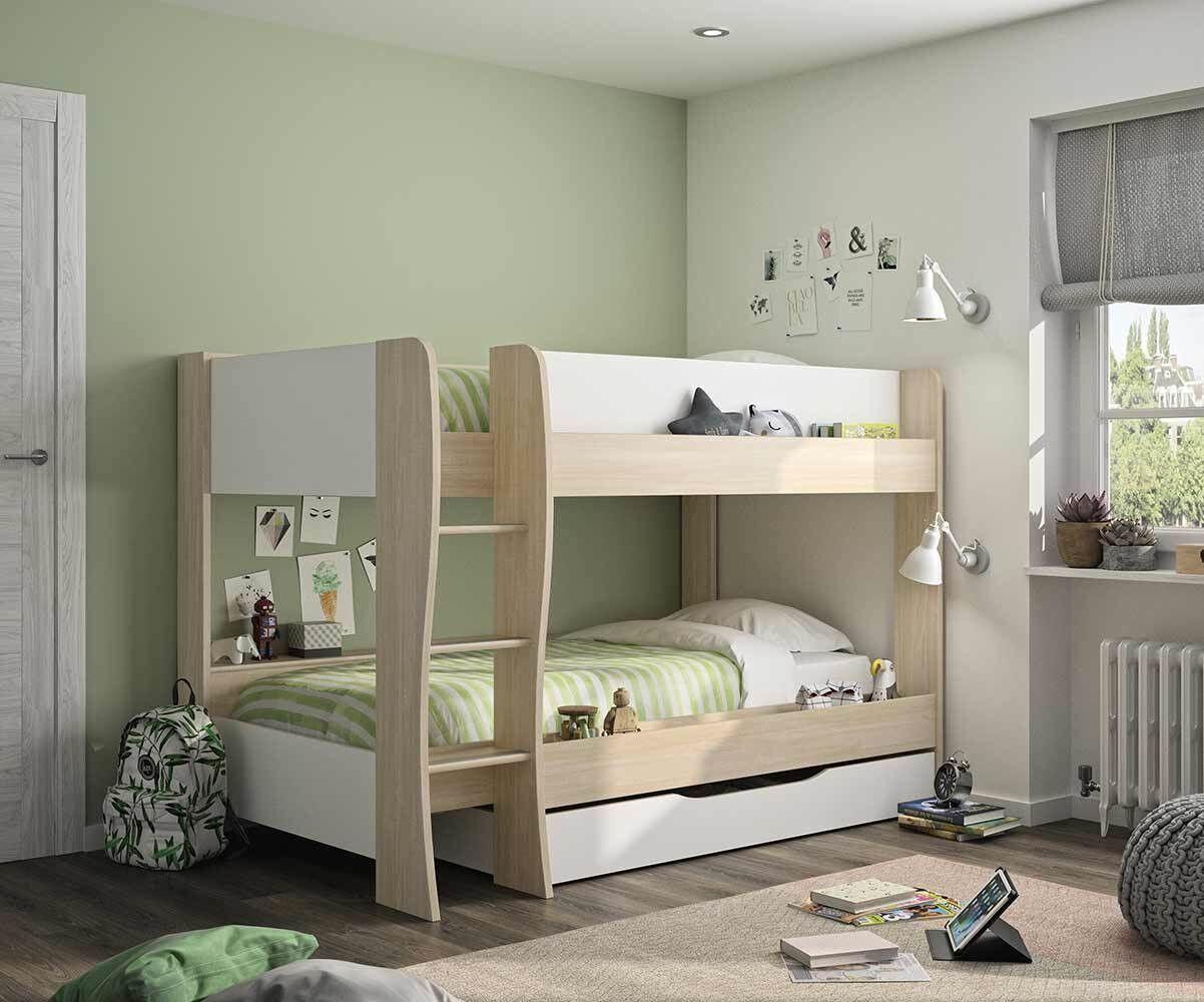Ma Chambre d'Enfant Lit superposé enfant Zao  Blanc et bois 90x200 cm