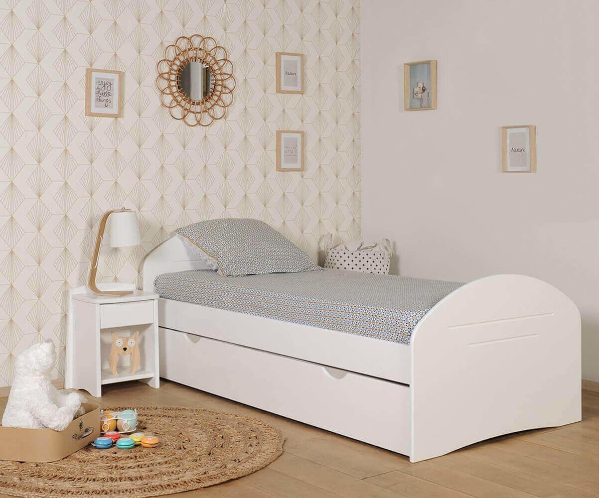 Ma Chambre d'Enfant Lit enfant avec sommier et matelas Spoom  Blanc 90x190 cm