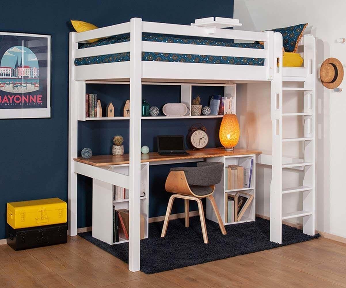 Ma Chambre d'Enfant Lit mezzanine ado avec bureau Cancún  Blanc et bois 90x190 cm/Opt:Bureau en longueur