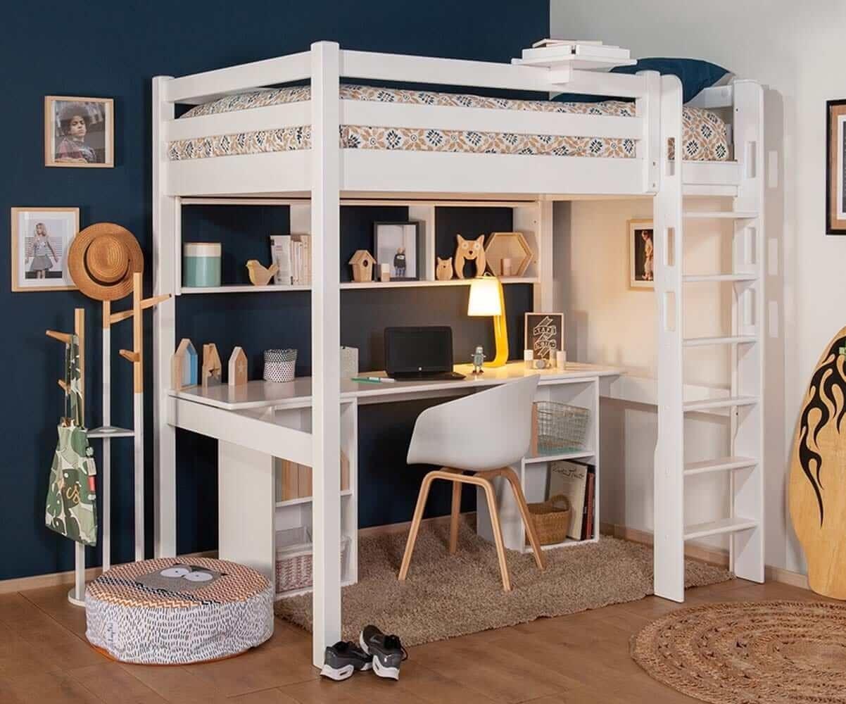 Ma Chambre d'Enfant Lit mezzanine ado avec bureau Cancun  Blanc 90x190 cm/Opt:Bureau en longueur