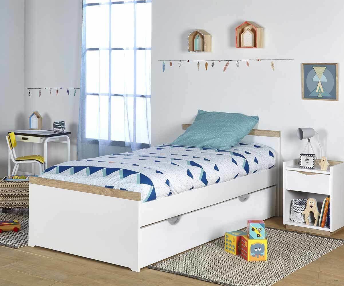 Ma Chambre d'Enfant Lit ado Jaïpur  Blanc et bois 90x200 cm