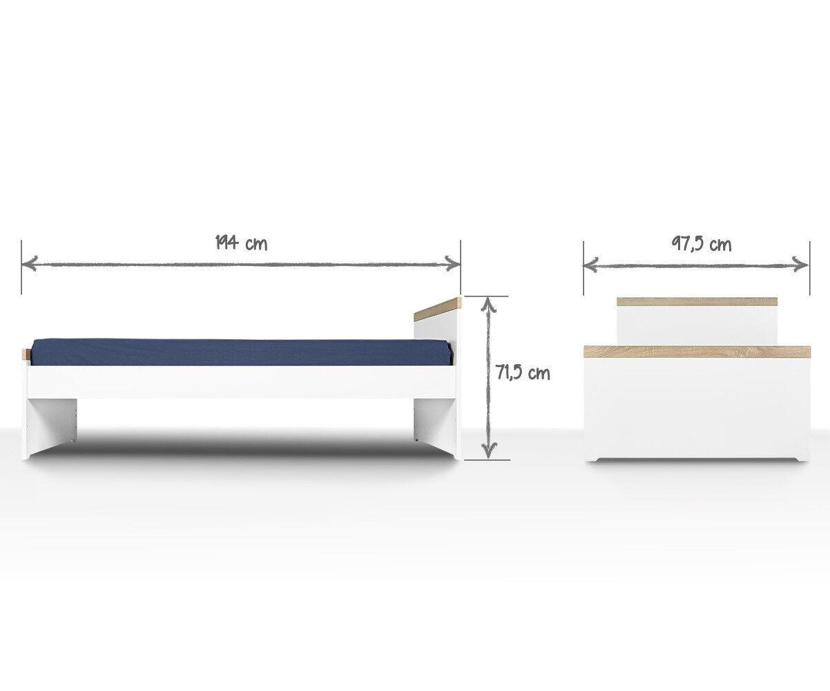 Ma Chambre d'Enfant Lit ado gigogne Jaïpur  Blanc et bois 90x200 cm