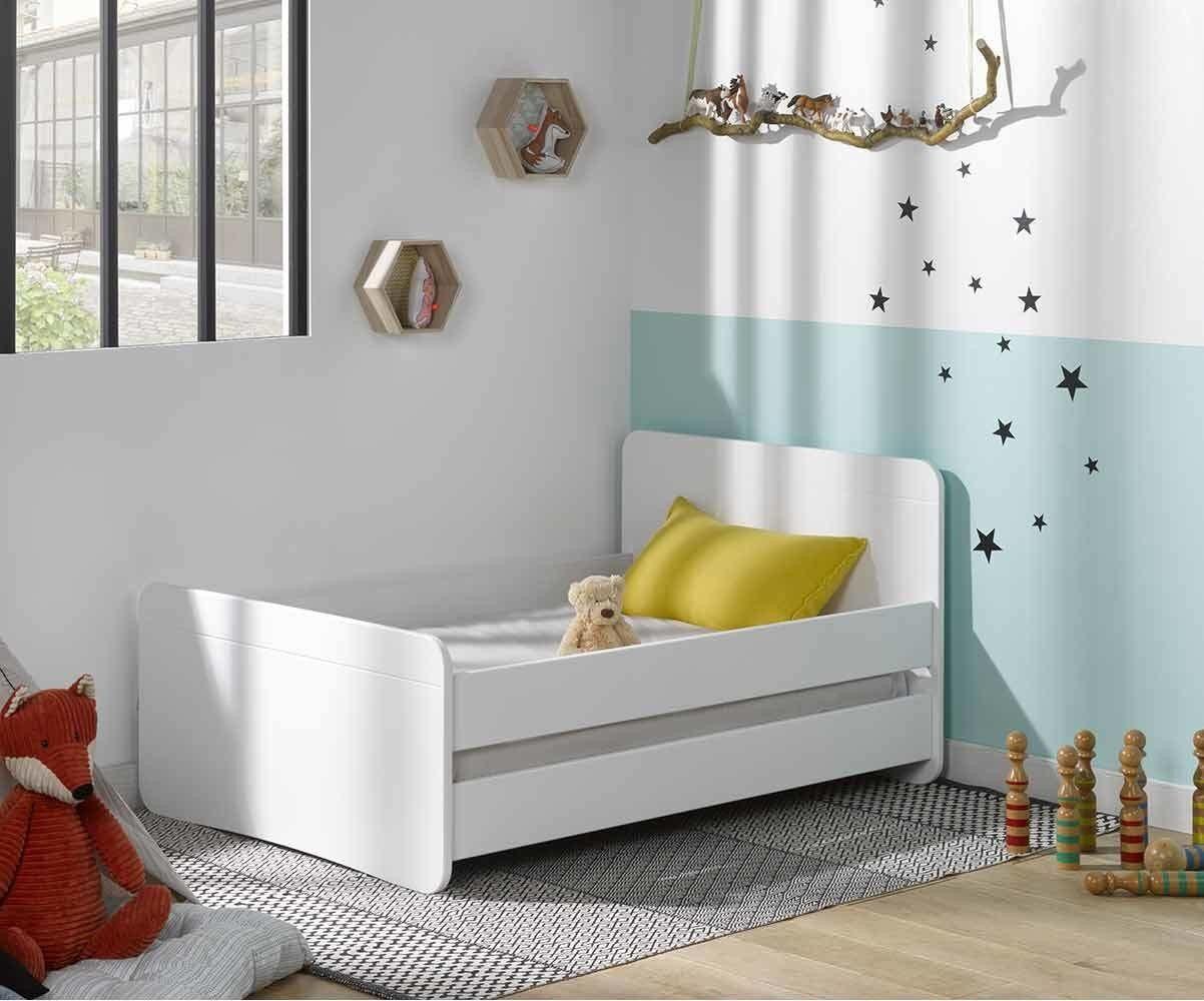 Ma Chambre d'Enfant Lit enfant évolutif avec barrières Willow  Blanc 90x140 à 90x190 cm