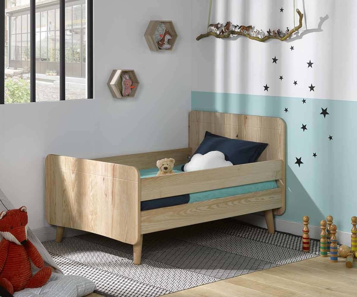 Ma Chambre d'Enfant Lit enfant évolutif avec pieds et barrières Willow  Brut à peindre 90x140 à 90x190 cm