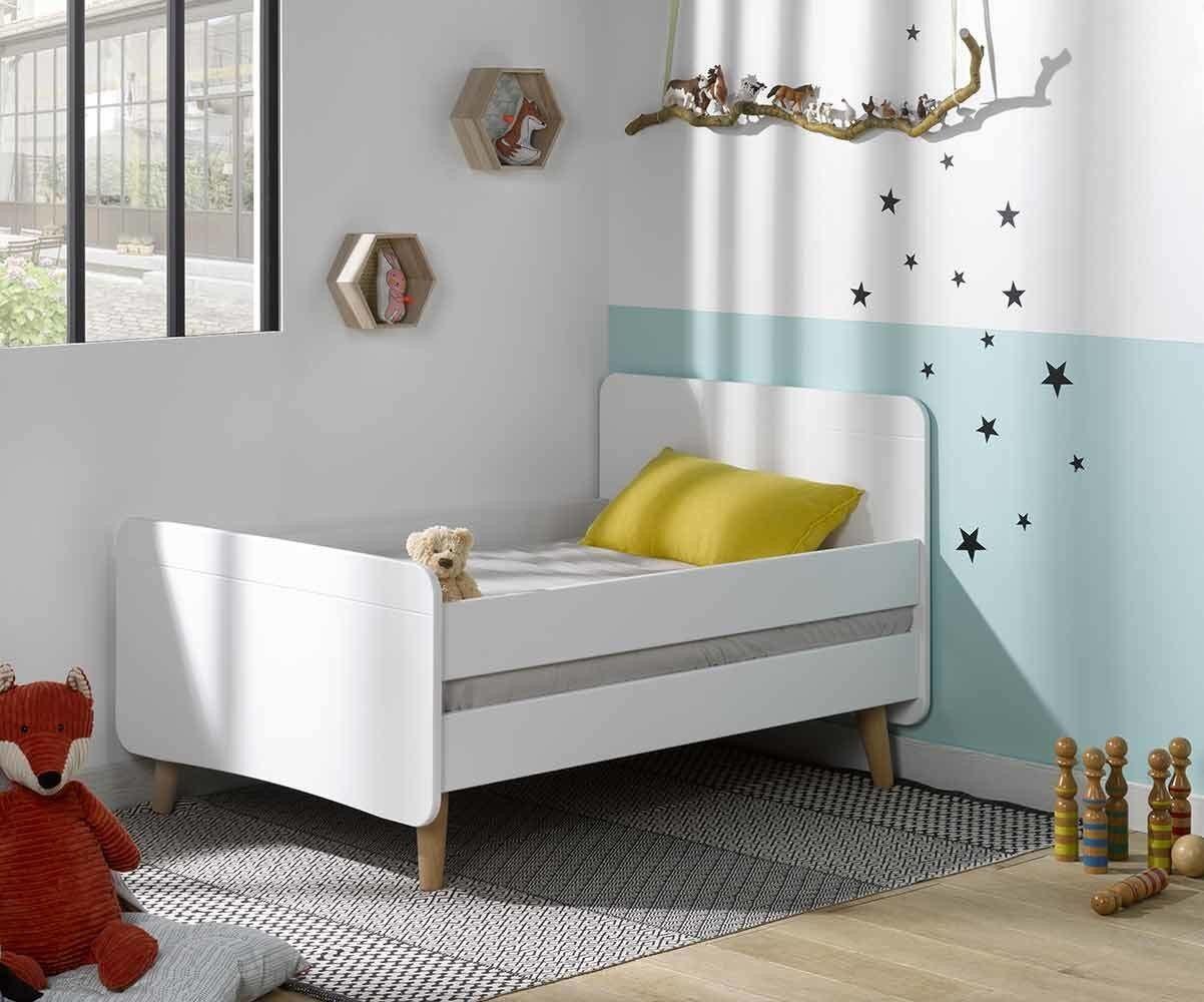 Ma Chambre d'Enfant Lit enfant évolutif avec pieds et barrières Willow  Blanc 90x140 à 90x190 cm