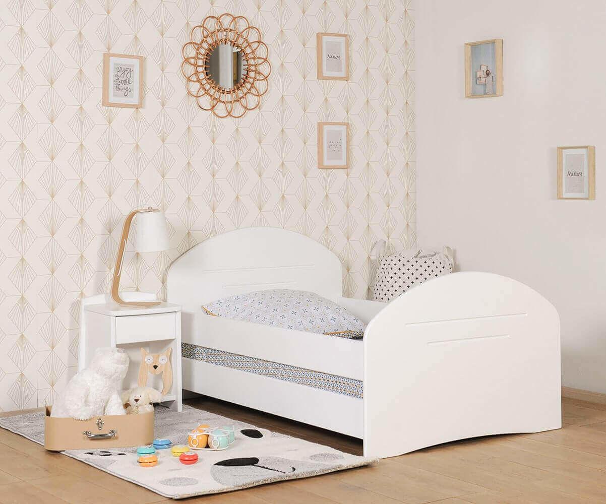 Ma Chambre d'Enfant Lit enfant évolutif avec barrières Spoom  Blanc 90x140 à 90x190 cm