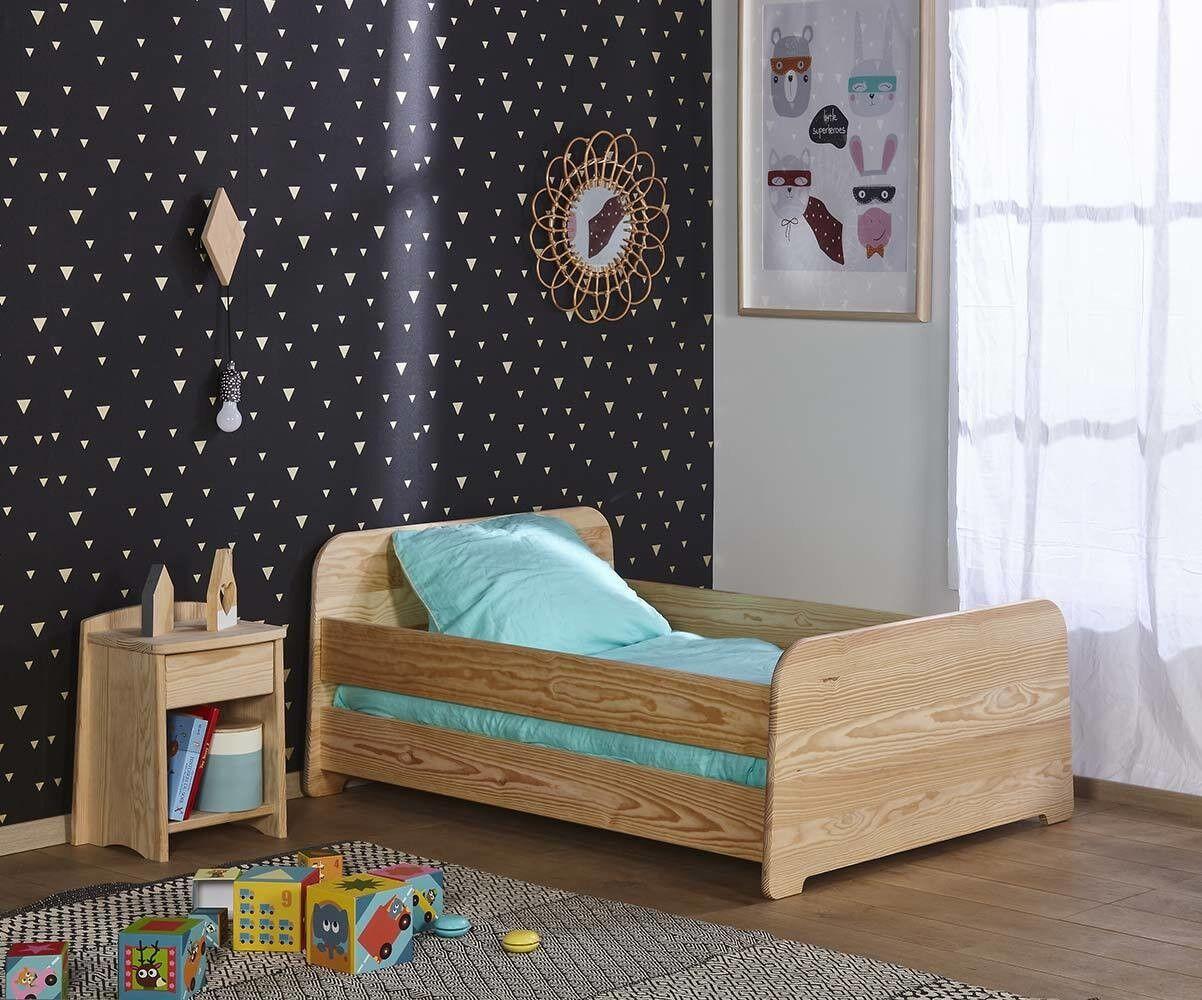 Ma Chambre d'Enfant Lit enfant évolutif avec barrières Eden  Brut à peindre 90x140 à 90x190 cm