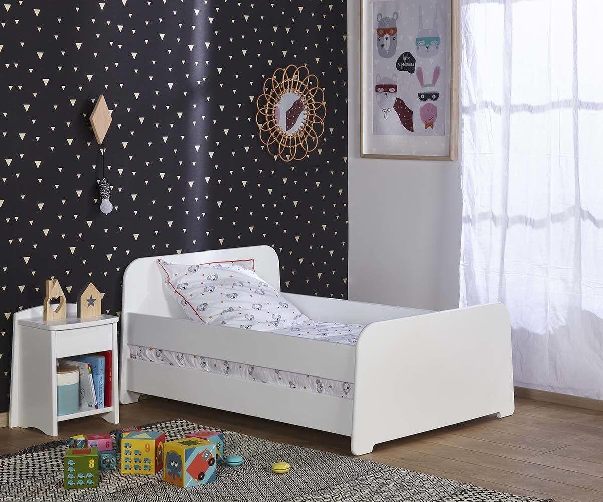 Ma Chambre d'Enfant Lit enfant évolutif avec barrières Eden  Blanc 90x140 à 90x190 cm