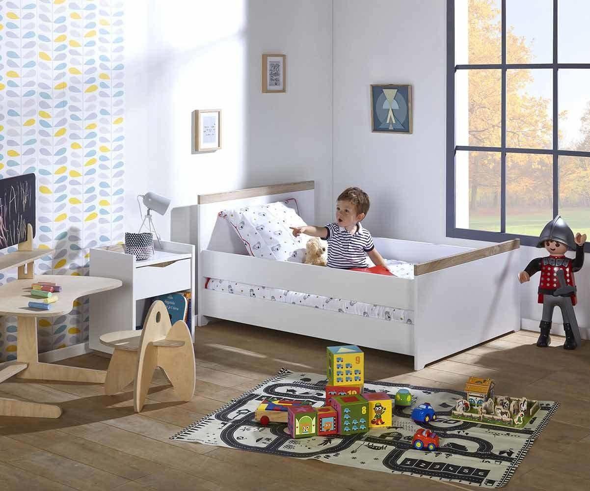 Ma Chambre d'Enfant Lit enfant évolutif avec barrières Jaïpur  Blanc et bois 90x140 à 90x190 cm