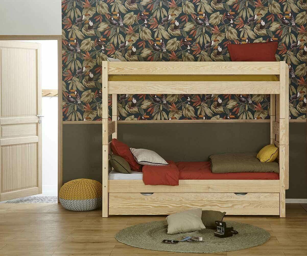 Ma Chambre d'Enfant Lit Enfant Superposé Haut avec Tiroir Kids.  Bois naturel 90x200 cm