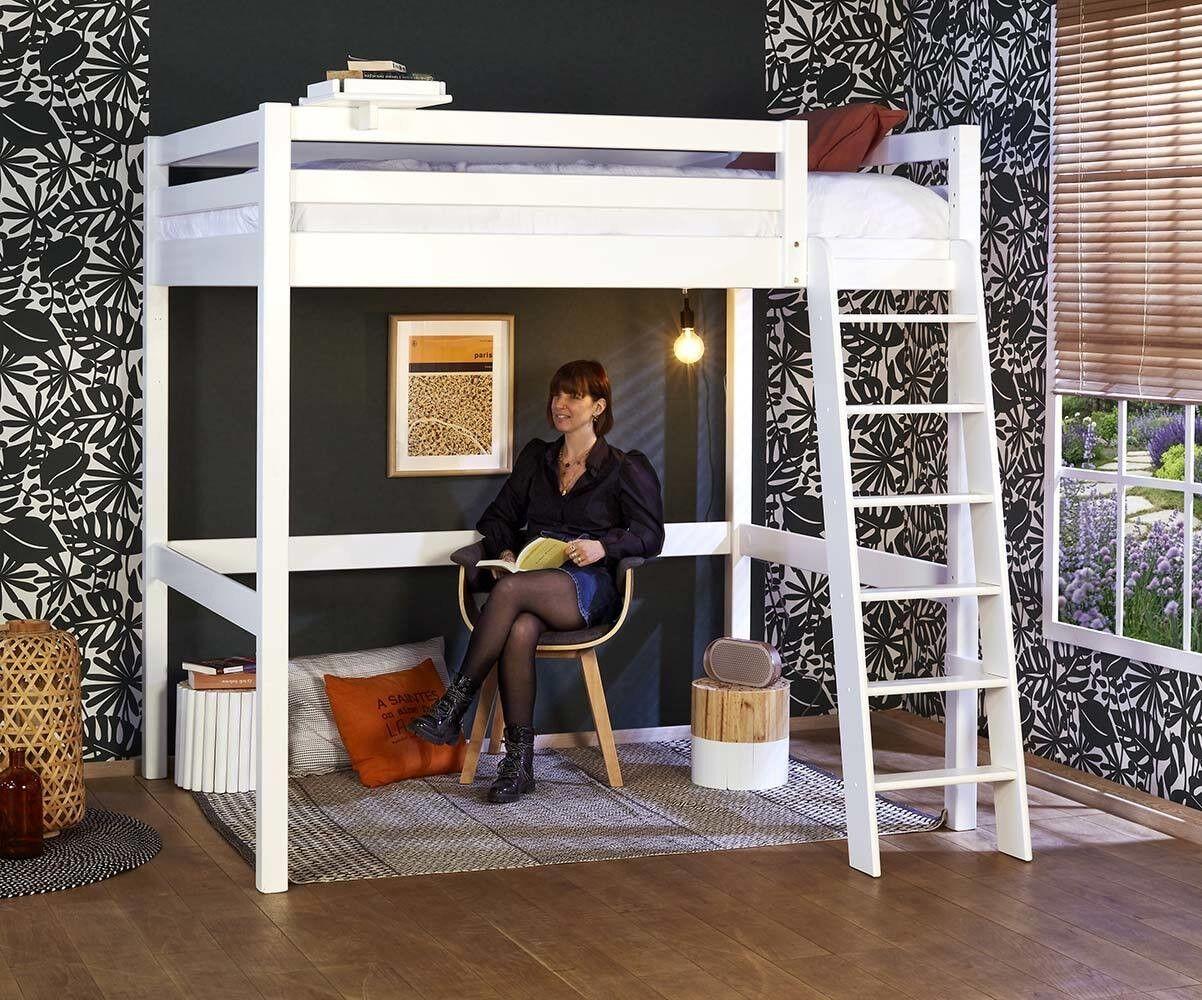 Ma Chambre d'Enfant Lit mezzanine ado 2 places avec matelas Cancun  Blanc 140x190 cm