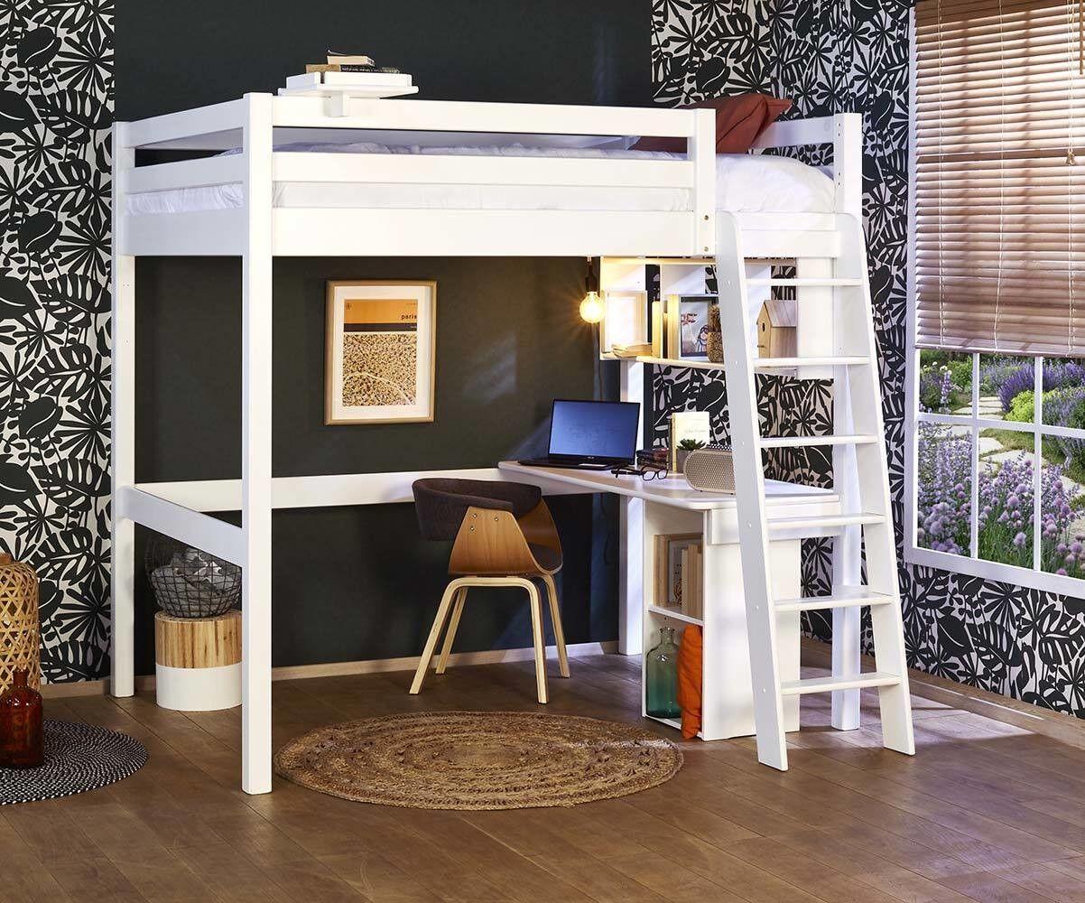 Ma Chambre d'Enfant Lit mezzanine ado 2 places avec bureau Cancun  Blanc 140x190 cm/Opt:Bureau en largeur