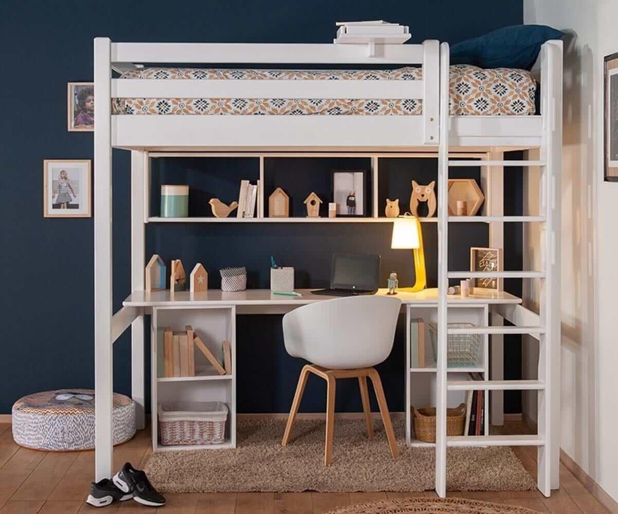 Ma Chambre d'Enfant Lit mezzanine ado 2 places avec bureau Cancun  Blanc 120x190 cm/Opt:Bureau en longueur