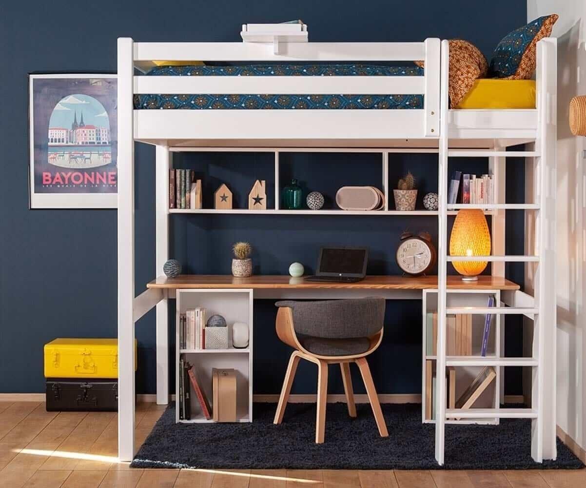 Ma Chambre d'Enfant Lit mezzanine ado 2 places avec bureau Cancun  Blanc et bois 120x190 cm/Opt:Bureau en longueur