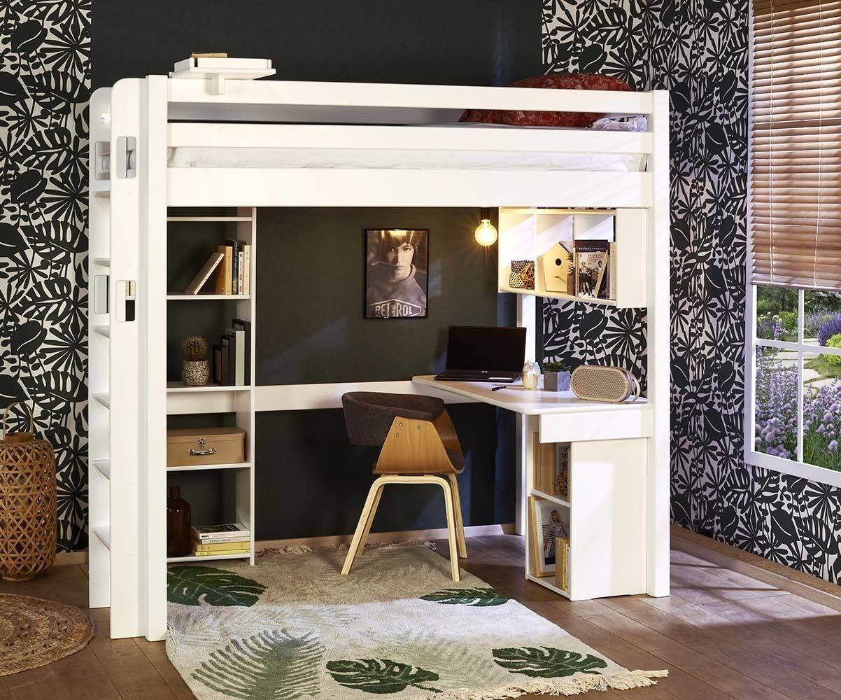 Ma Chambre d'Enfant Lit mezzanine ado 2 places Fynn  Blanc 120x190 cm