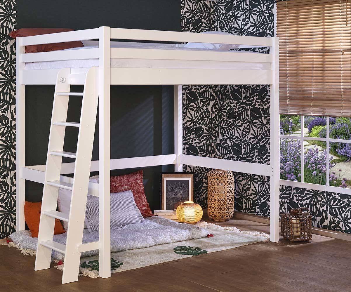 Ma Chambre d'Enfant Lit mezzanine ado 2 places avec matelas Fynn  Blanc 140x190 cm