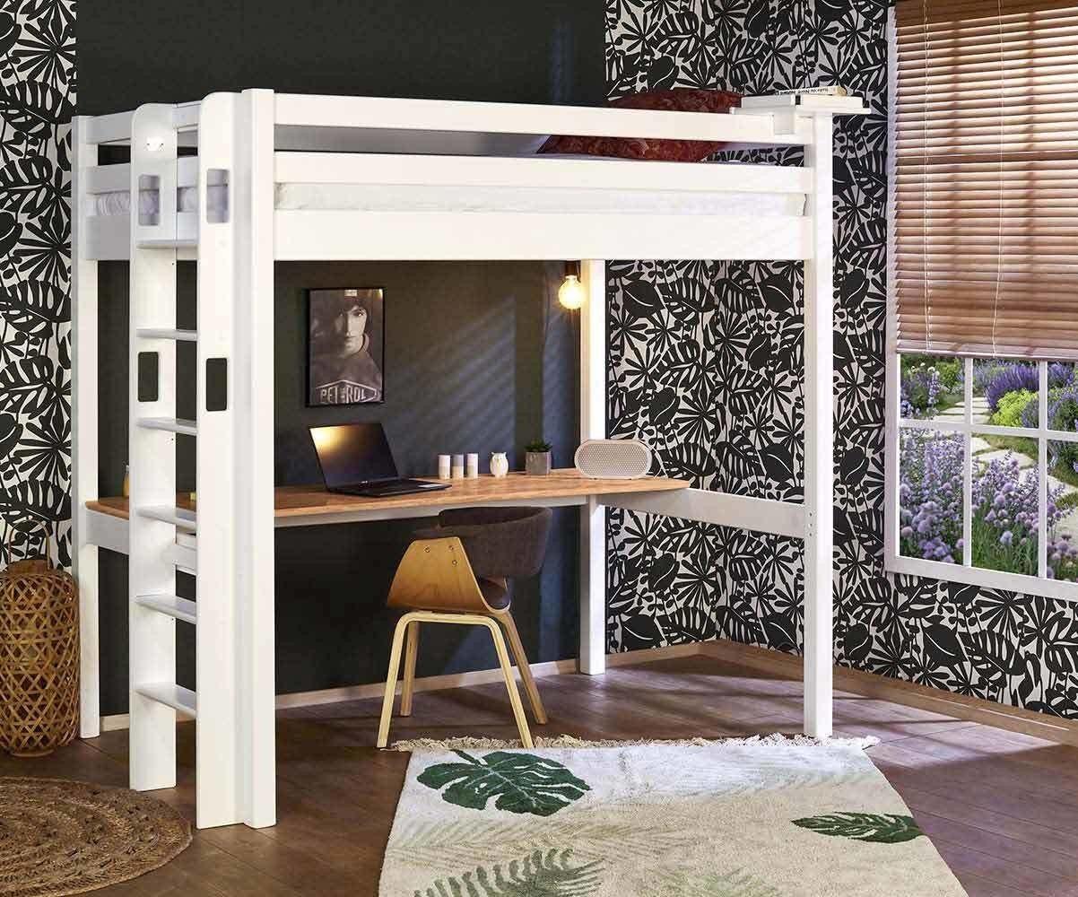 Ma Chambre d'Enfant Lit mezzanine ado 2 places avec bureau Fynn  Blanc et bois 120x190 cm/Opt:Bureau en longueur