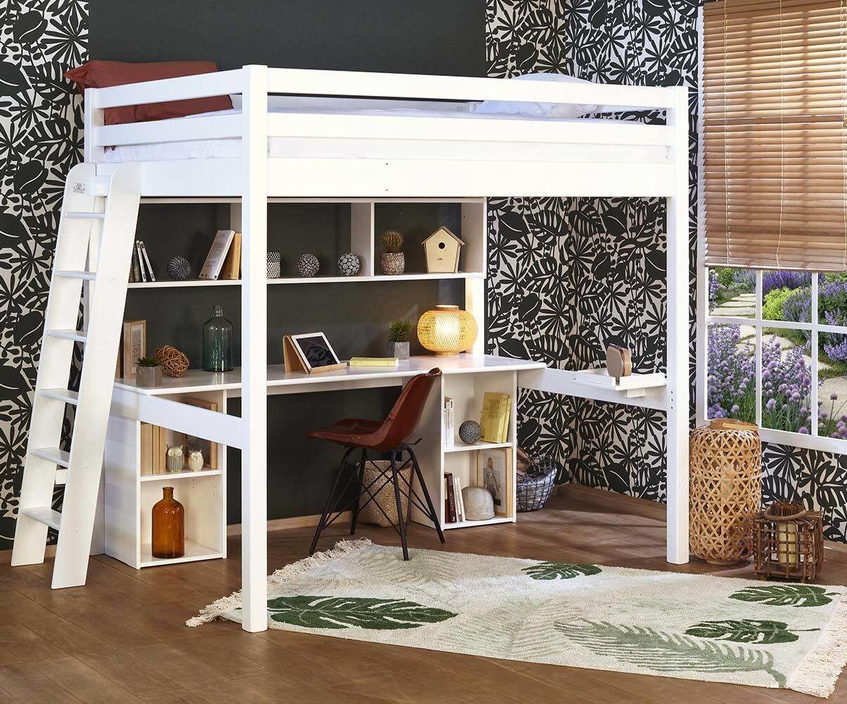 Ma Chambre d'Enfant Lit mezzanine ado 2 places avec bureau Fynn  Blanc 140x190 cm/Opt:Bureau en longueur