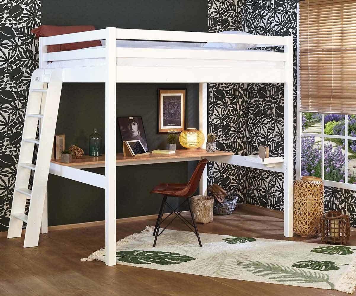Ma Chambre d'Enfant Lit mezzanine ado 2 places avec bureau Fynn  Blanc et bois 140x190 cm/Opt:Bureau en longueur
