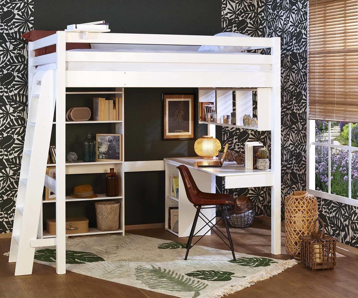 Ma Chambre d'Enfant Lit mezzanine adulte 2 places avec matelas Fynn  Blanc 140x190 cm