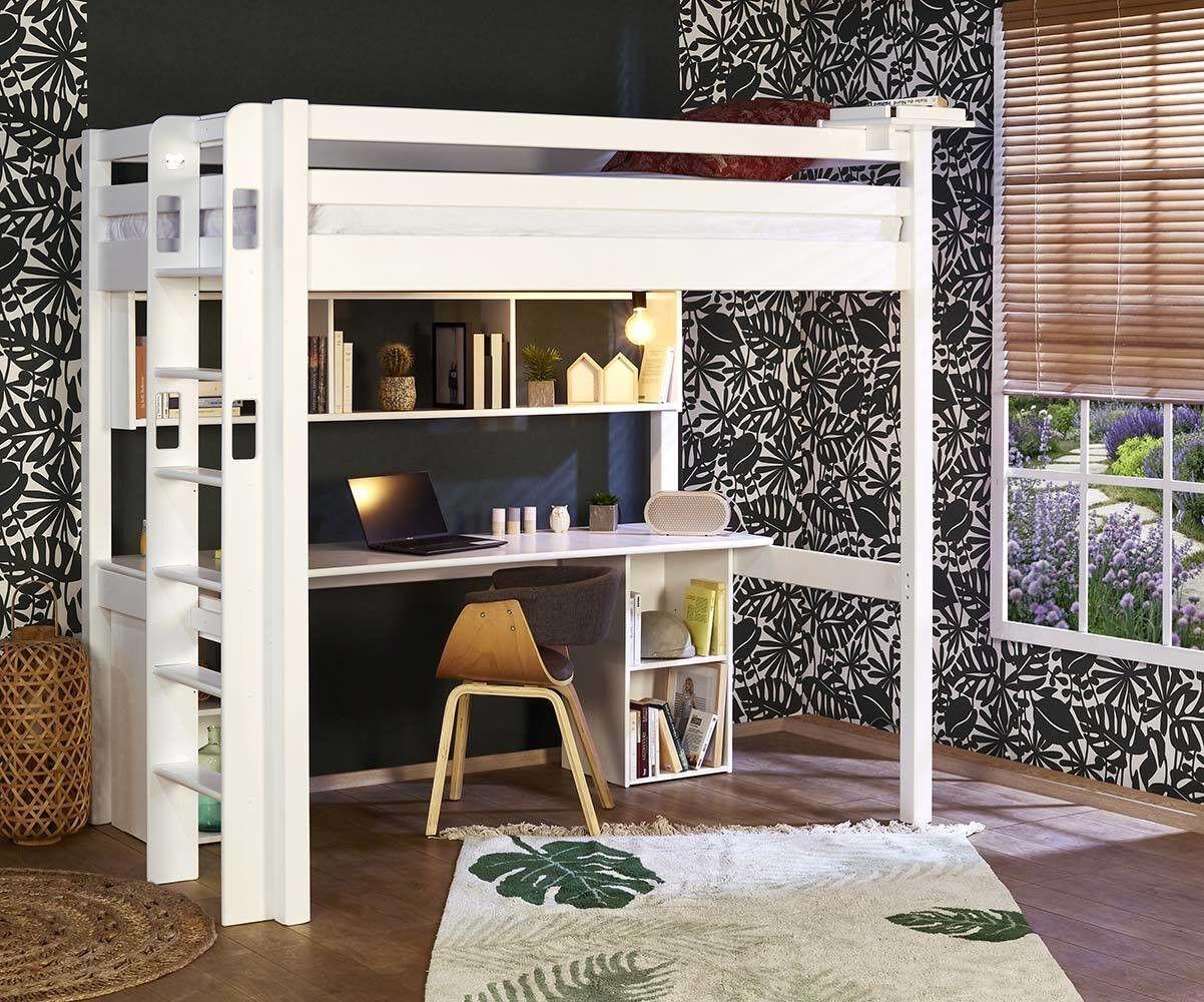 Ma Chambre d'Enfant Lit mezzanine adulte 2 places avec matelas Fynn  Blanc 120x190 cm