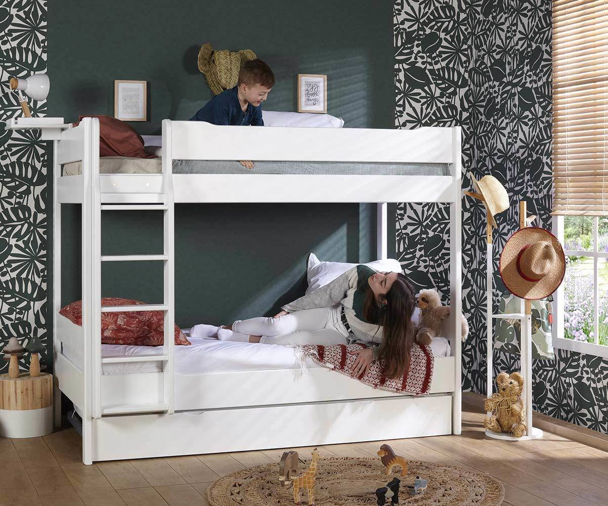 Ma Chambre d'Enfant Lit superposé ado Tigg  Blanc 90x190 cm