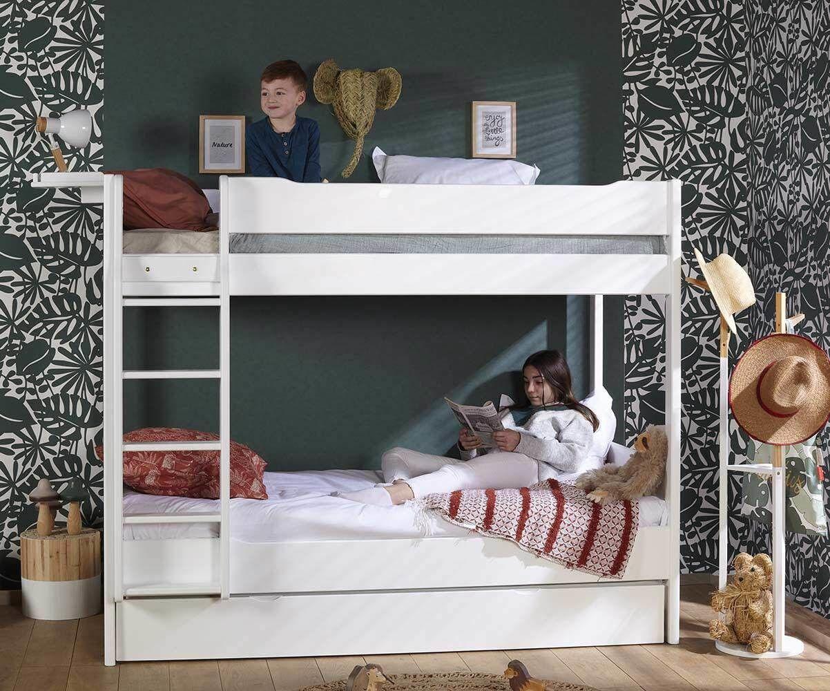 Ma Chambre d'Enfant Lit superposé ado avec matelas Tigg  Blanc 90x190 cm