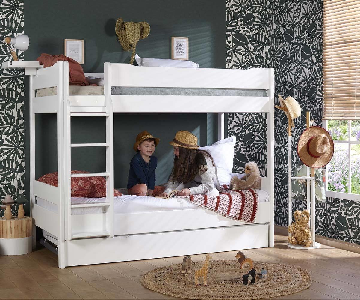 Ma Chambre d'Enfant Lit superposé ado avec sommier gigogne Tigg  Blanc 90x190 cm