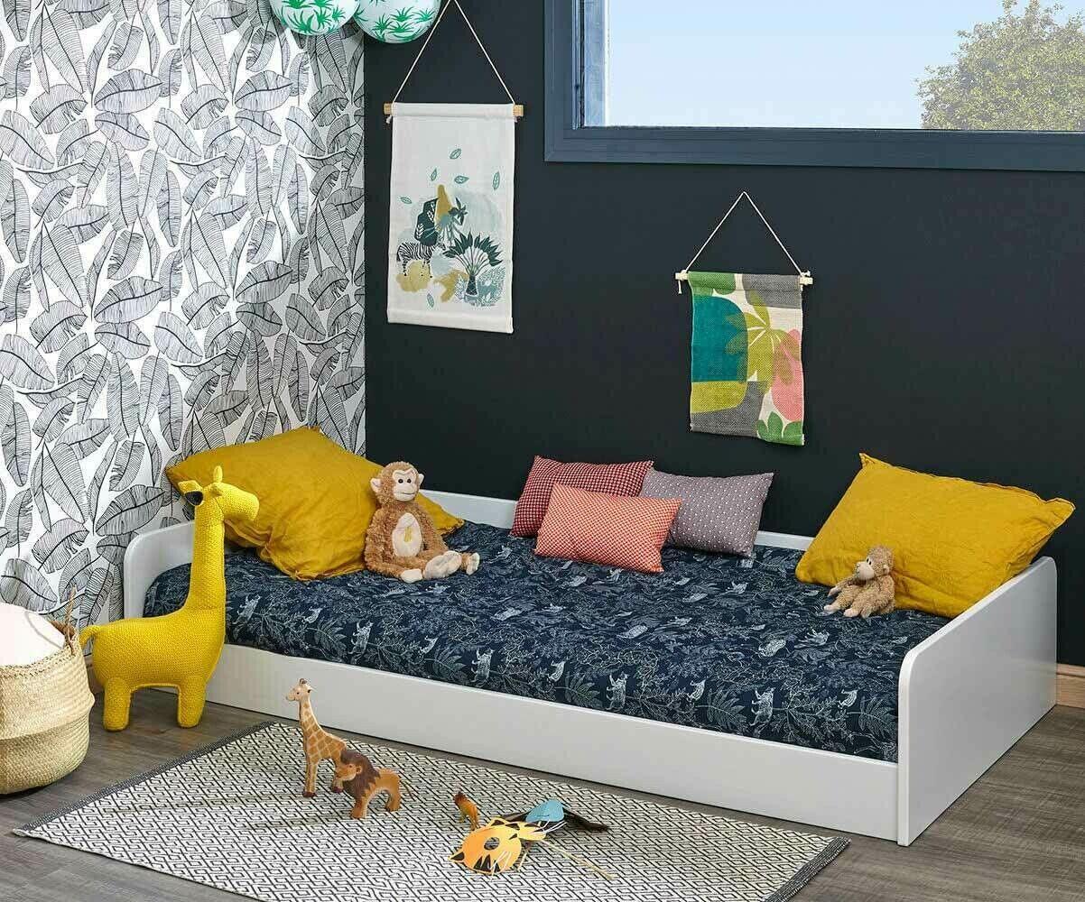 Ma Chambre d'Enfant Lit enfant avec sommier et matelas Octave  Blanc 90x190 cm/Opt:Sans pieds