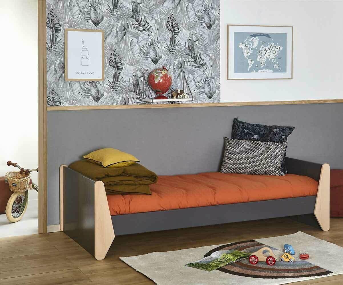 Ma Chambre d'Enfant Lit enfant Kolmio avec sommier et matelas  Gris anthracite et hêtre 90x190 cm