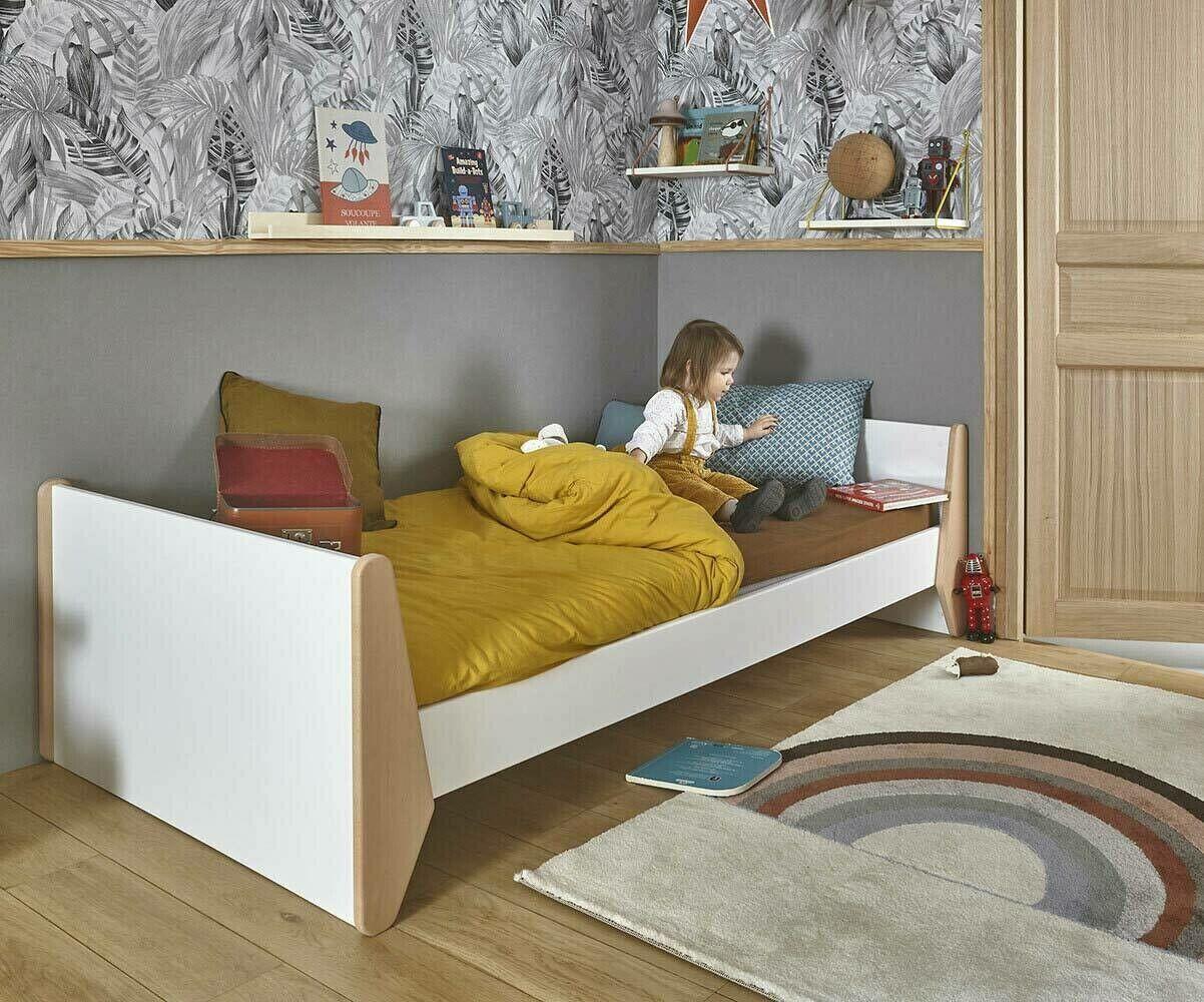 Ma Chambre d'Enfant Lit enfant Kolmio avec sommier et matelas  Blanc et hêtre 90x190 cm