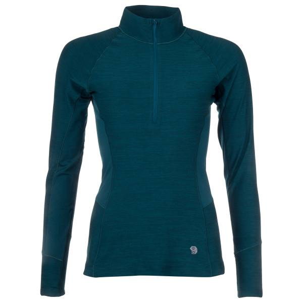 Mountain Hardwear - Women's Ghee Long Sleeve 1/4 Zip - Sous-vêtement synthétique taille L, bleu/noir