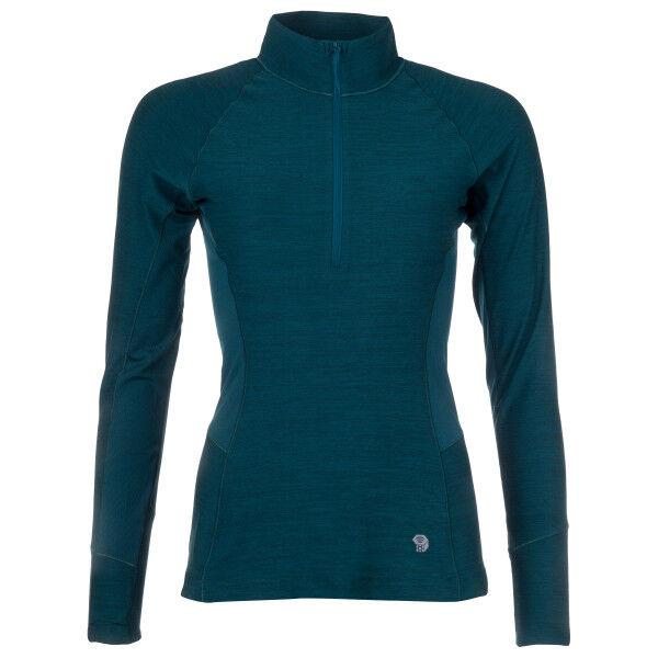 Mountain Hardwear - Women's Ghee Long Sleeve 1/4 Zip - Sous-vêtement synthétique taille XS, bleu/noir