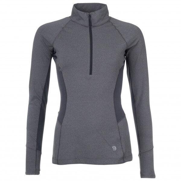 Mountain Hardwear - Women's Ghee Long Sleeve 1/4 Zip - Sous-vêtement synthétique taille M, gris/noir