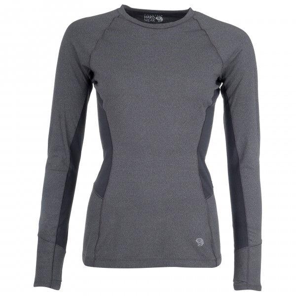 Mountain Hardwear - Women's Ghee Long Sleeve Crew - Sous-vêtement synthétique taille XL, gris/noir