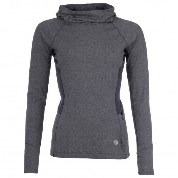 Mountain Hardwear - Women's Ghee Long Sleeve Hoody - Sous-vêtement synthétique taille M, noir/gris