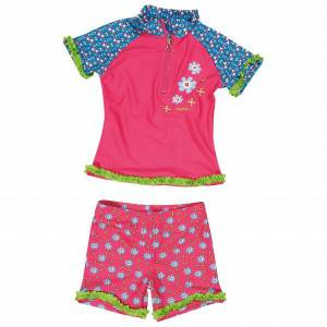 Playshoes - Kid's UV-Schutz Bade-Set Blumen - Lycra taille 110/116, rose