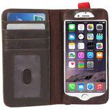 GadgetBay Book Étui bibliothèque iPhone 6 Plus 6s Plus Wallet Livre cuir marron