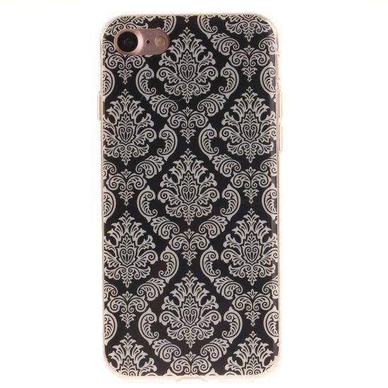 GadgetBay Coque en henné noir Fleur de Damas Coque en TPU Silicone iPhone 7 8 blanc