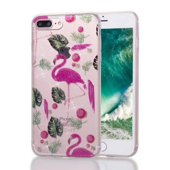 GadgetBay Coque TPU Flamingo tropical glitter pour iPhone 7 Plus 8 Plus - Rose transparent Vert