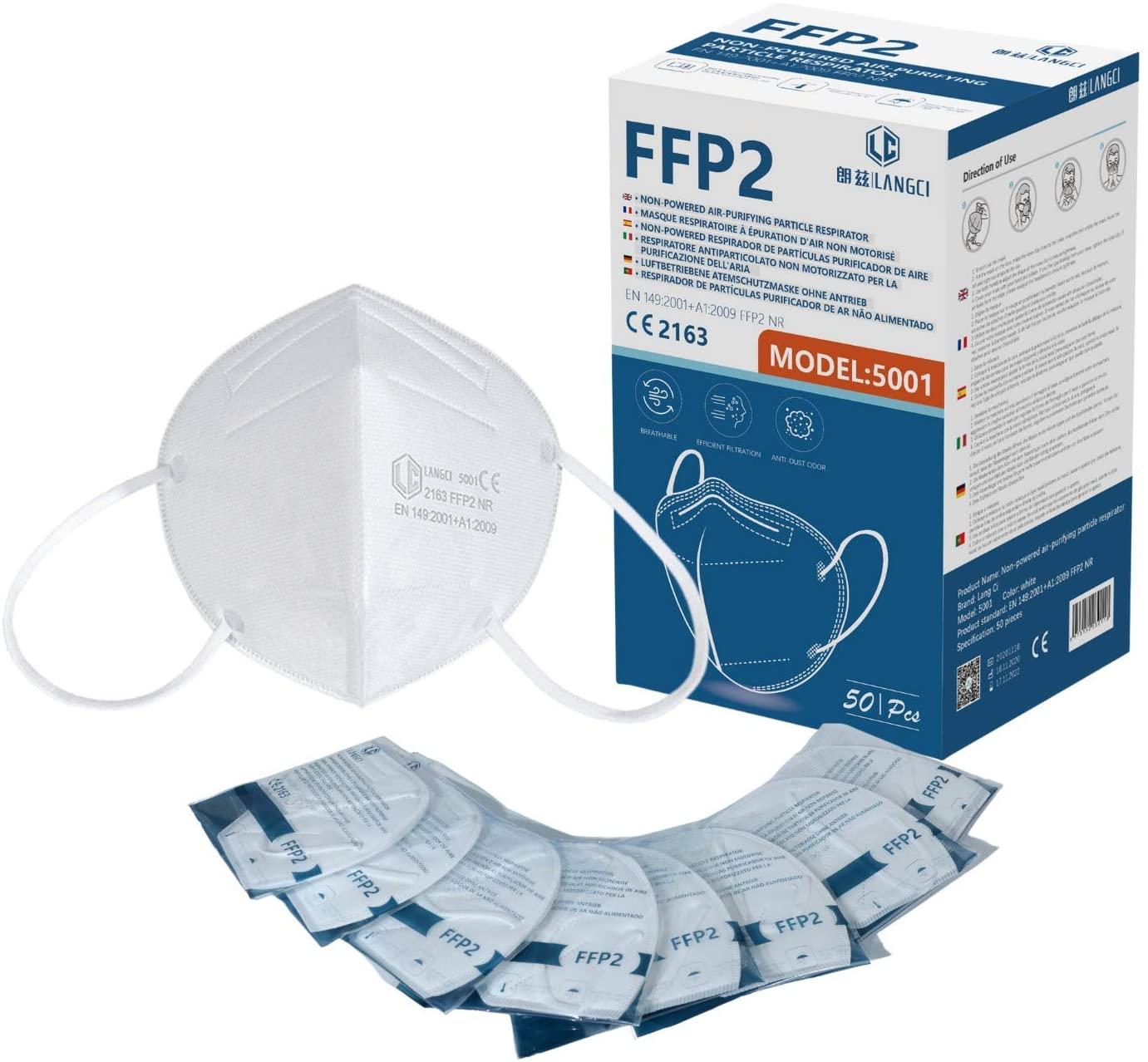 Masques et gants 50 x Masque FFP2 certifié NORME CE EN 149