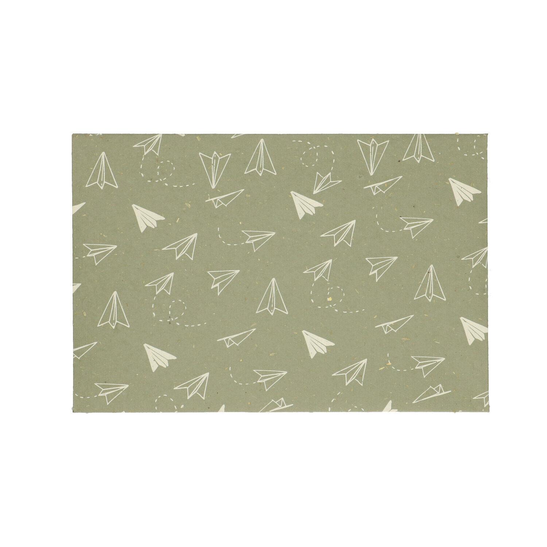 Dille&Kamille Enveloppe, papier bouse, vert, avec motif d'avion pliable
