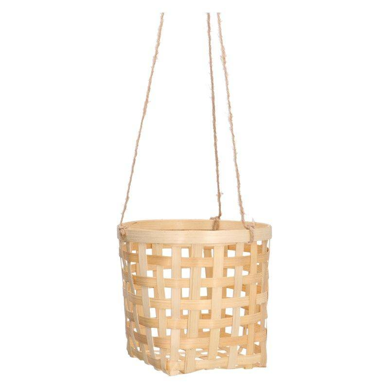 Dille&Kamille Cache-pot en bambou, corde de suspension en jute,Ø 18 x 16 cm