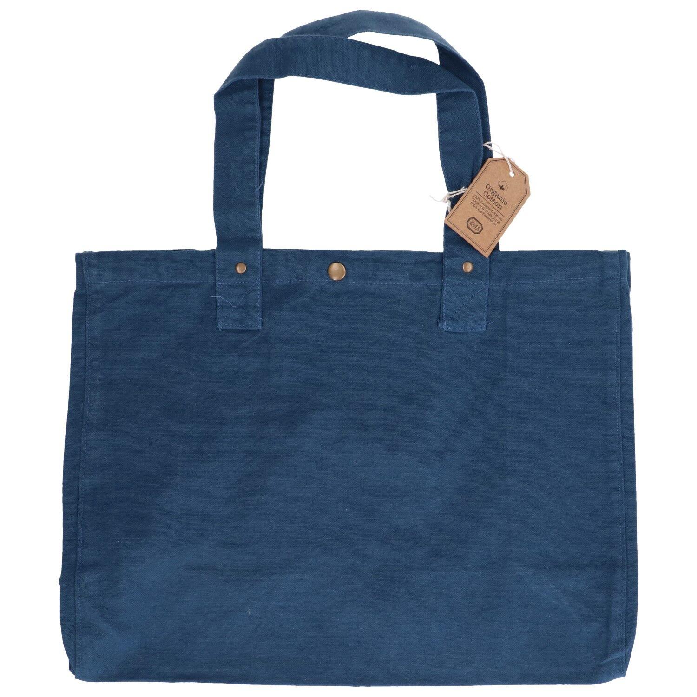 Dille&Kamille Sac cabas, coton bio, bleu denim, 46 x 34 x 18 cm